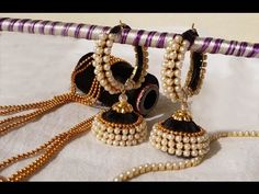 making of ring model silk thread jhumkas with pearl video #tutorials - YouTube