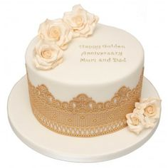 Golden Rose Anniversary Cake