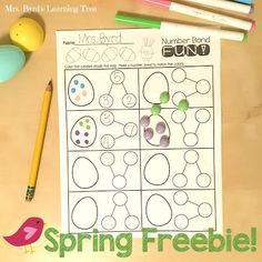You can go grab this FREE recording sheet to do a fun spring number bond activity with your little learners.  (Mrs. Byrd's Learning Tree)