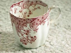 Antique Red Transferware Cup