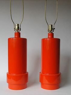 Charming HUGE Pair Of Vintage Mid Century Danish Modern Red /Orange Ceramic Pottery  Lamps