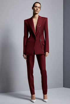 Wine Red Jacket+Pants Women's Business Suits Office Uniform Designs Women Elegant Formal Ladies Trouser Suit 2 Piece Sets Custom Suit Fashion, Fashion 2017, Look Fashion, Fashion Show, Autumn Fashion, Fashion Trends, Fashion Beauty, Fashion Dresses, Fashion Guide