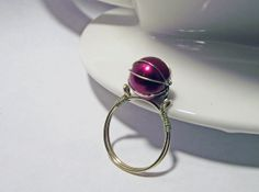 Caged Pearl Wire Wrapped Ring