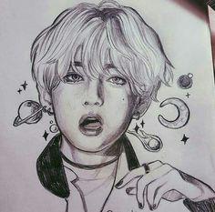 Kpop Drawings, Pencil Art Drawings, Art Drawings Sketches, Realistic Drawings, Taehyung Fanart, Chinese Drawings, Bts Chibi, Kpop Fanart, Bts Pictures