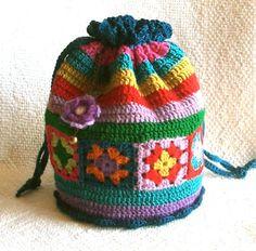 Granny Square Chic Drawstring Bag: Inspiration