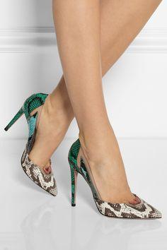 Aquazzura-Yılan-Derisi-Desenli-Topuklu-Stiletto-Ayakkabı-Modeli, 2016 Stiletto Modası / Snake-skin patterned heel shoes