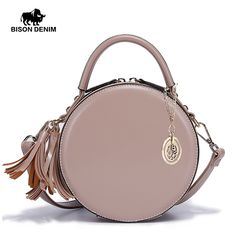 b87b0a4d55 BISON DENIM Women Bag Round Leather Bags Zipper Closed Brand Tassel  Designer Crossbody Messenger Bag L1427