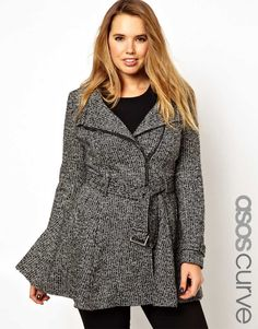 Buy ASOS CURVE Fit & Flare Biker Coat at ASOS. Get the latest trends with ASOS now. Curvy Fashion, Love Fashion, Plus Size Fashion, Girl Fashion, Fashion Design, Blazers, Look Plus, Plus Size Coats, Coats For Women
