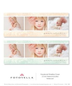 """Watercolor"" Facebook Timeline Cover Template - by FOTOVELLA / Featuring preview images by Munchkins and Mohawks Photography"