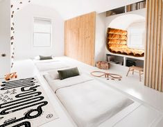Secret Trap Doors Flip This Play Zone Into a Guest Room in a Flash Dark Brown Kitchen Cabinets, Brown Kitchens, All White Kitchen, House Flippers, Trap Door, Cool Kids Rooms, Hidden Bed, Triple Bunk, Extra Seating