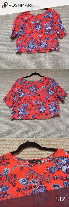 Sequined Crop Top Adorable floral crop top w/blue sequins. Great condition, worn 2 times. Purchased from ASOS. ASOS Tops Crop Tops