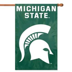 """NCAA Michigan State Spartans Applique Banner Flag - Oversized 44"""" x 28"""" true 2-sided house banner flag made of heavyweight weather-resistant 420 denier nylon. High quality applique & embroidery makes this flag fly high above the competition. Comes with sleeve for hanging on standard house flagpole and also has hang tabs for added versatility. Item Dimensions: 28L x 0.5W x 44H Package Dimensions: 12L x 7W x 1H Color: green. Gifts > Licensed Gifts > Ncaa > All Colleges > Michigan State Univers"""