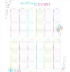 Excel template for birthday calendar in color landscape orientation birthday calendar calendar template free premium templates saigontimesfo