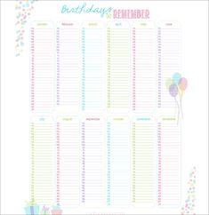 Birthday Calendar  Calendar Template  Free  Premium Templates