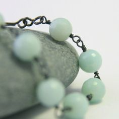 Amazonite Oxidized Sterling Silver by RanolaSg