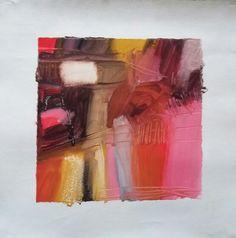 """Esencia.  Extracto o concentrado que se obtiene de una cosa  Proyecto """"En Esencia"""" Pigmento, resina / lienzo 17×17 Proceso aditivo en un único sentido; negro, rojo, ocre, blanco."""
