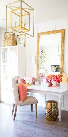 Glam dressing table. The corals and pinks and mints look sooooo  good to me right now.     ...