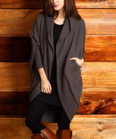 Look at this Brown Cable Knit Convertible Cardigan - Women on #zulily today!