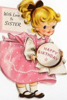 Birthday Card ~ Little Lady in Collectibles, Paper, Vintage Greeting Cards, Other Vintage Greeting Cards Happy Birthday Vintage, Happy Birthday Kids, Happy Birthday Wishes Images, Sister Birthday, Birthday Greetings, Vintage Greeting Cards, Vintage Postcards, Vintage Images, Old Cards