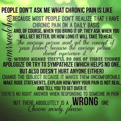 "I get headaches, too."" Or, ""You're not the only one with aches and pains."" (Or is that just my family?) Oh, and you gotta love the ""It could be worse"" and ""Be positive"" type of comments. Chronic Migraines, Rheumatoid Arthritis, Chronic Illness, Fibromyalgia, Mental Illness, Chronic Pain Quotes, Pseudotumor Cerebri, Complex Regional Pain Syndrome, Illness Quotes"