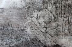"""Autor: Ana Arista, """"Niño llora"""", técnica: grabado, técnica aguafuerte."""