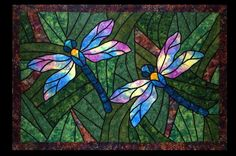 Stained glass dragonflies