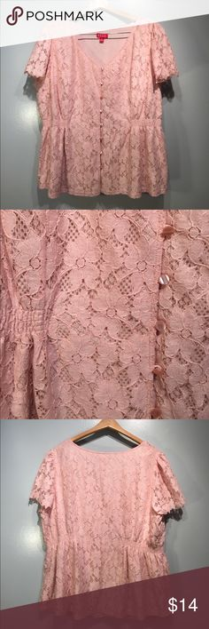Elle 2X lace top pale pink Elle blouse size 2X, pale pink lace over lining.  Pearlized button detailing, elastic at waist. #lace #girlie #pink elle Tops Blouses