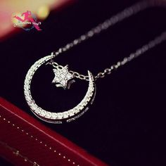925 Sterling Silver Fashion Cubic Zirconia Moon Stars Necklace