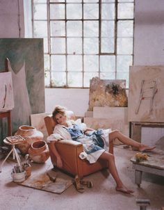 the way I feel after completing a painting, minus the white dress.