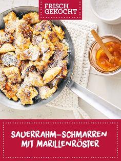 Sauerrahm-Schmarren mit Marillenröster Street Food, Food Inspiration, Biscuits, Recipies, Food And Drink, Sweets, Lunch, Snacks, Vegetables
