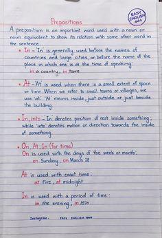 Daily English Vocabulary, English Grammar Notes, English Prepositions, English Phonics, Teaching English Grammar, English Grammar Worksheets, English Verbs, English Vocabulary Words, English Language Learning
