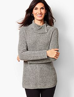 Shop Talbots for modern classic women's styles. You'll be a standout in our Shaker-Stitch Cowlneck Sweater - Marled - only at Talbots! Fall Leggings, Black Leggings, Classic Style Women, Classic Looks, Dressy Skirts, Autumn Fashion 2018, Cool Sweaters, Peplum Dress, Talbots