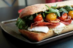 Roasted Tomato Mozzarella  Sandwich with Pancetta and Calabrese