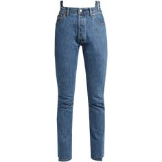 Vetements X Levi's reworked high-rise jeans ($1,325) ❤ liked on Polyvore featuring jeans, pants, bottoms, blue, slouchy jeans, high waisted jeans, vintage jeans, slouch jeans and high-waisted jeans