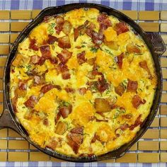 Potato Bacon Cheddar Frittata - Steve was looking for a make-ahead Christmas breakfast and I suggested a frittata! You can substitute ham or sausage for the bacon, use pasta instead of potatoes, add olives, mushrooms, onions or peppers, or use different cheeses or herbs in there too. Basically anything you'd add to a favourite omelet can be used in a frittata. Just prepare and chop the ingredients on Christmas Eve and add the eggs in the morning! Easy peasy.
