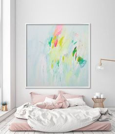 """Large art print of abstract painting giclee print Light Blue coral pink pastel wall art """"You smiled - Abstract Paintings - Large wall Art - Prints for home and office decor Modern Painting, Painting Prints, Art Paintings, Blue Painting, Painting Art, Large Art Prints, Wall Art Prints, Large Artwork, Pastel Walls"""
