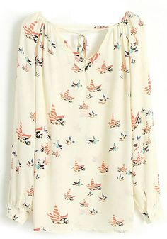 Floral Long Sleeve Loose Chiffon Blouse