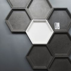 Hexagon concrete tray XL by dwellthespacecom on Etsy Concrete Furniture, Concrete Projects, Concrete Tiles, Concrete Design, Tile Design, Concrete Planters, Leather Wall, 3d Wall Panels, Marble Coasters