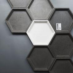 Bandeja concreto hexagonal XL 270mm por dwellthespacecom en Etsy