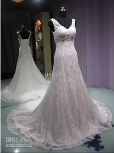 Wholesale custom made white ivory sleeveless V-neck lace designer empire chapel train wedding dress A001, Free shipping, $143.36-165.76/Piece | DHgate