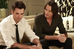 Jason Thompson and Rick Springfield as father and son Doctors Noah and Patrick Drake on General Hospital.