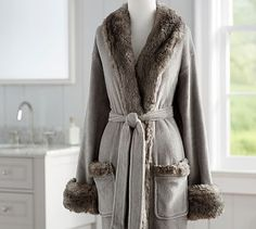 Faux Fur Robe Without Hood - Gray/Chinchilla #potterybarn