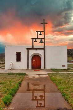 Jude's Church after a good rain, San Patricio, New Mexico by Corey Walker Travel New Mexico, New Mexico Usa, Houses Of The Holy, Take Me To Church, Church Architecture, Religious Architecture, Old Churches, Catholic Churches, Land Of Enchantment