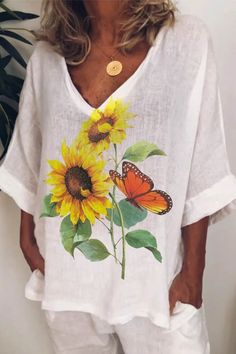 3/4 Sleeves Sunflower Butterfly Print Paneled V-neck Casual Blouse - Diorer Trendy Clothes For Women, Blouses For Women, Animal Print Outfits, Sunflower Print, Online Shopping Clothes, Online Clothes, Women's Clothes, Butterfly Print, White Women