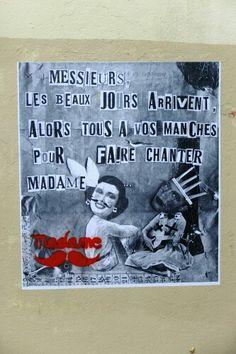 Madame (moustache) - street art - paris 20 rue henri chevreau aout 2013