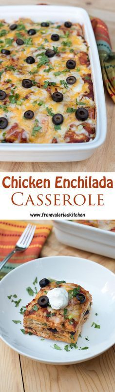 Simple ingredients combine to make this delicious enchilada-inspired casserole! ~ http://www.fromvalerieskitchen.com