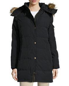 TQ944 MICHAEL Michael Kors Hooded Down Jacket w/ Faux-Fur Trim