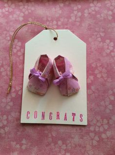 """Baby Shower Gift Tag - Origami Baby Booties - 2""""x3"""" by PetitePairs on Etsy https://www.etsy.com/listing/240445291/baby-shower-gift-tag-origami-baby"""