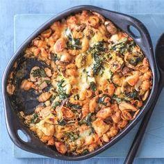 Pasta uit de oven met kip, spinazie en champignons Recept | Weight Watchers België
