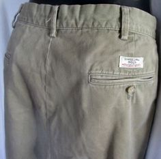 MENS RALPH LAUREN POLO Khaki 100% Cotton Chinos STRAIGHT PANTS 37 X 30